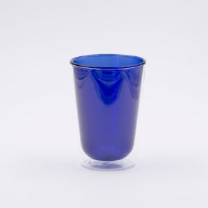 Vaso Cristal Doble Pared Azul para Café